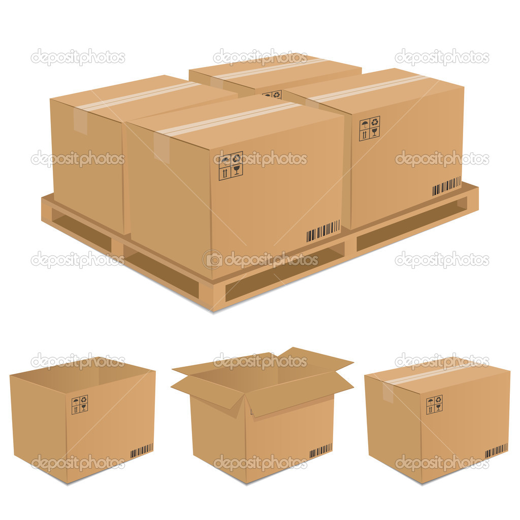 Set of vector cardboard boxes over white background  Stock vektor #3590117