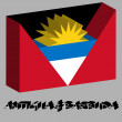 Stock Vector: Antigua and barbuda 3d flag