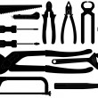 Royalty-Free Stock Vector Image: Hand tools silhouettes over white