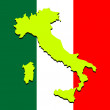 Italy map over national colors — Stock Vector