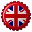 United kingdom flag on bottle cap — Stock Vector