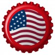 United states flag on bottle cap — Stock Vector
