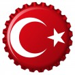 Turkey stylized flag on bottle cap — Stock Vector