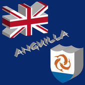 Anguilla 3d flag — Stock Vector