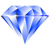Blue diamond isolated on white — Vetor de Stock