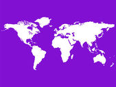 White world map isolated on purple — ストックベクタ