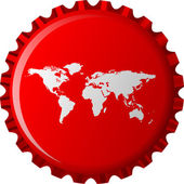 White world map on red bottle cap — Stock Vector