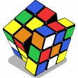 Rubik cube isolated on white - Stock Vector