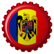Romania abstract flag on bottle cap — Vettoriali Stock