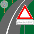 Traffic sign and road — Image vectorielle