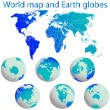 Stockvector : World map and earth globes