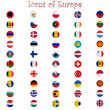 Icons of europe against white — Stock Vector