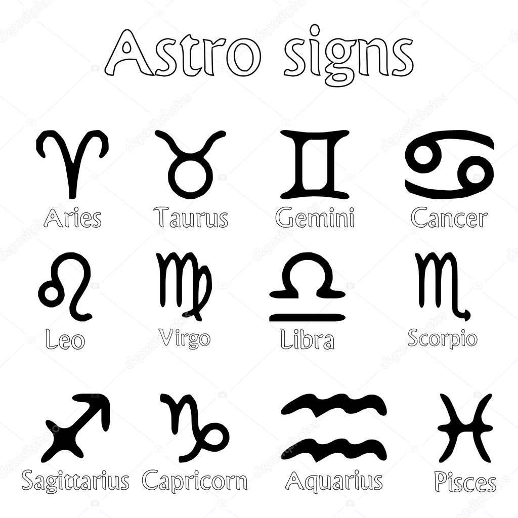 Astro signs isolated on white background, abstract vector art illustration  Stock Vector #3001191