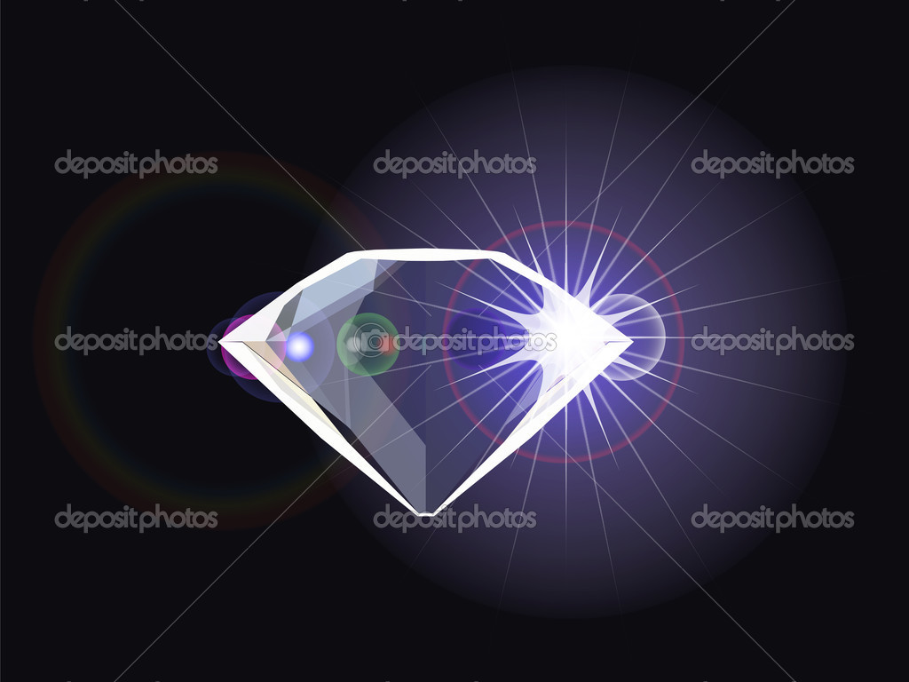 Diamond with light reflection, abstract vector art illustration — Stock Vector #3001257
