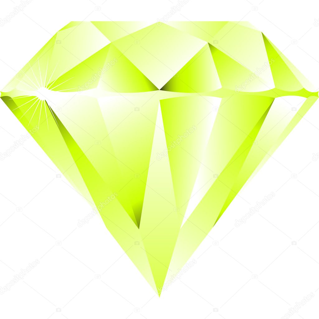 Green diamond isolated on white background, abstract vector art illustration — Stock Vector #3001273