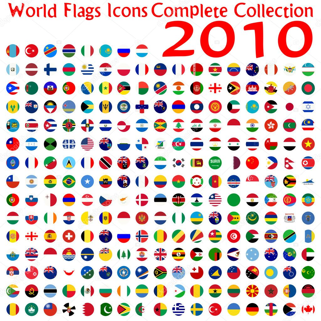 World flags icons collection, abstract vector art illustration  Stock Vector #3001359