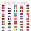 Flags of europe against white — Stock Vector