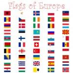 banderas de Europa contra blanco — Vector de stock