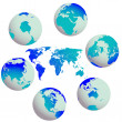 Stock Vector: Earth globes and world map against white