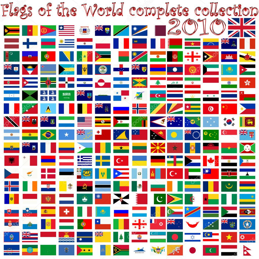 Flags of the world against white background, abstract vector art illustration — Imagen vectorial #3028855