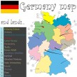 Germany map and lands — Stock Vector