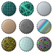 Stock Vector: Nine textured bottle caps