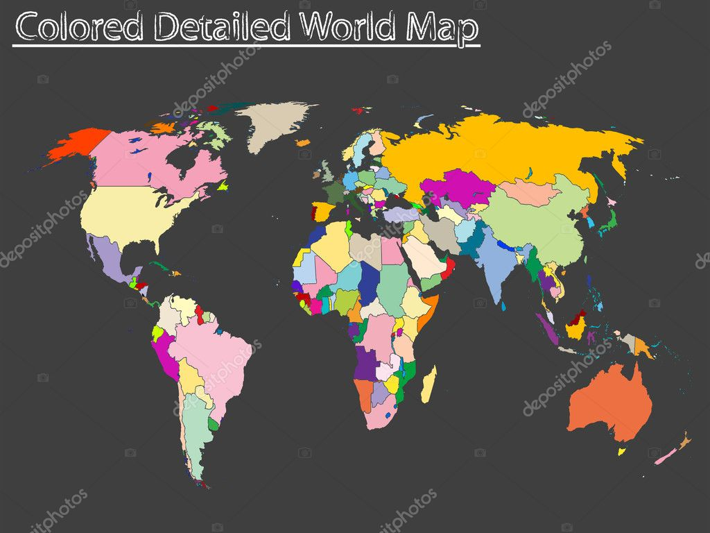 Colored And Labeled Map of The World Colored Detailed World Map