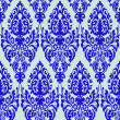 Damask blue seamless texture - Stock Vector