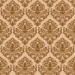 Damask brown seamless texture — Vector de stock