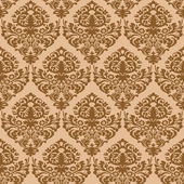 Damask brown seamless texture — Vetor de Stock