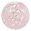 Round red maze against white — Stock Vector