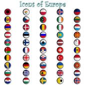 Icons of europe complete collection — Stock Vector