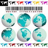 Mapas y globos vector — Vector de stock