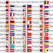 Europa vlaggen en pictogrammen collectie — Vector de stock