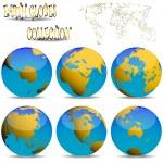 Earth globes against white — Stock Vector