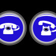 Telephone blue icons against black — Stock Vector