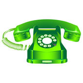 Green retro telephone against white — Stock Vector
