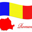 Romanian flag and map against white — Stock Vector