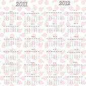 Ladybug calendar for 2011 and 2012 — Stock Vector