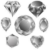 Diamonds collection — Stock Vector