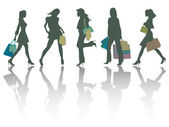 Shopping girls silhouettes — Vetor de Stock