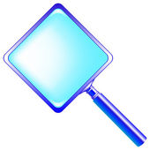 Square blue magnifying glass — Stock Vector