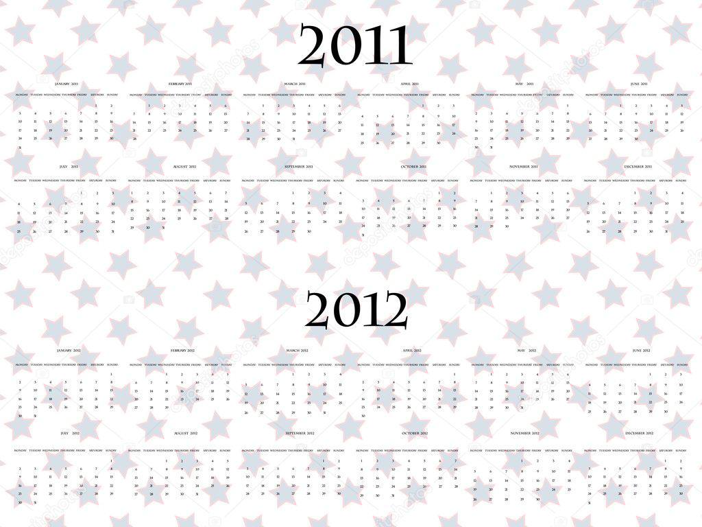 Векторные звезды календарь на 2011 и 2012, абстрактные векторные искусства иллюстрации.  Вектор автора robertosch.