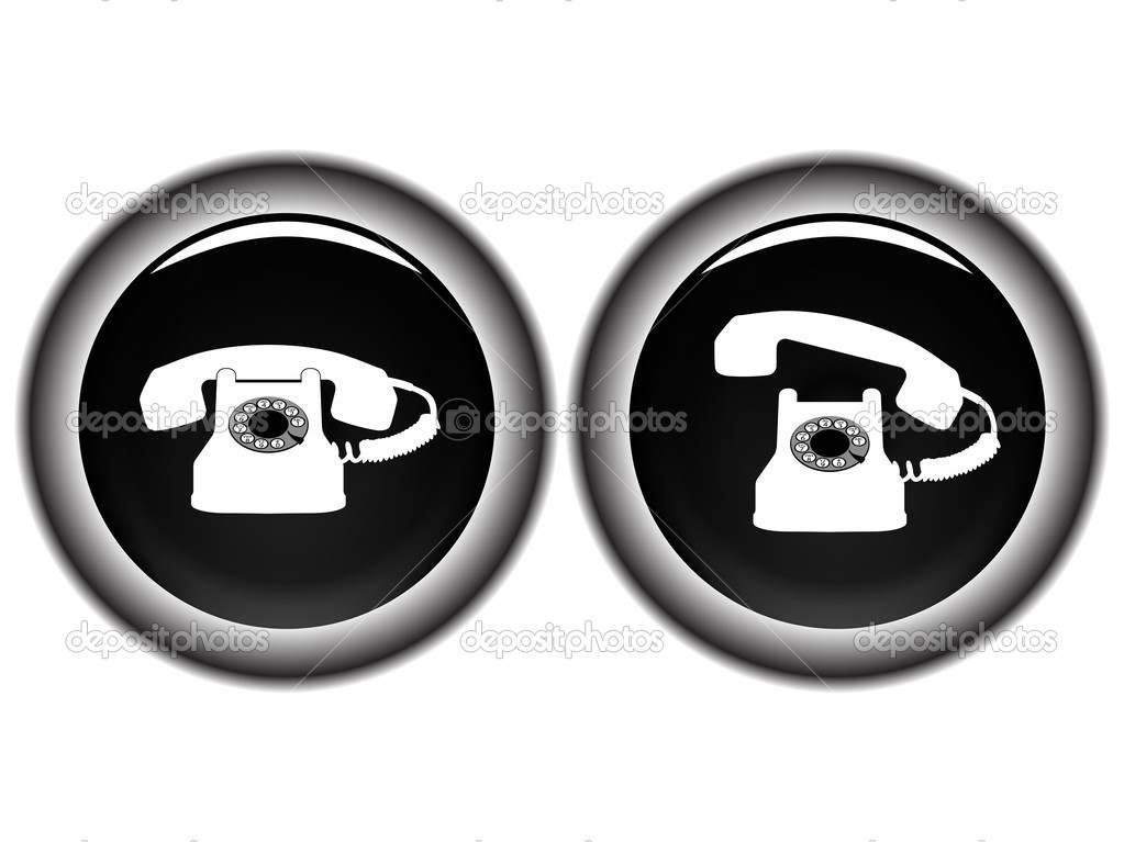 Telephone black icons against white background, abstract vector art illustration — Stock Vector #3660909