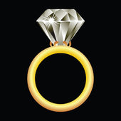 Diamond ring against black — Vetor de Stock