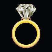Diamond ring against black — Stock Vector