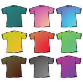 T shirts collection against white — Stock Vector