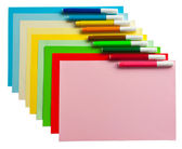 Colored papers and markers — Stock Photo