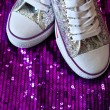Sneakers with sequins - Stock Photo