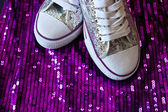 Sneakers with sequins — Stock Photo